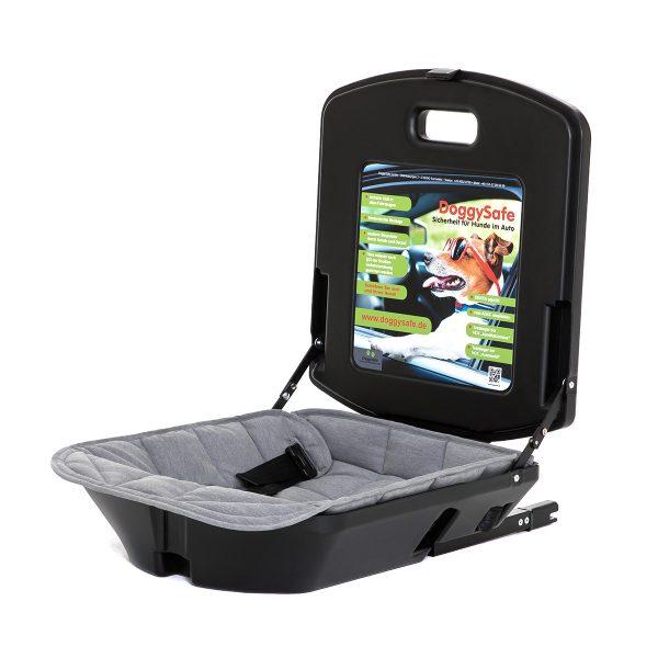 DoggySafe - Hunde Autositz für kleine Hunde - mit Einlegedecke grau