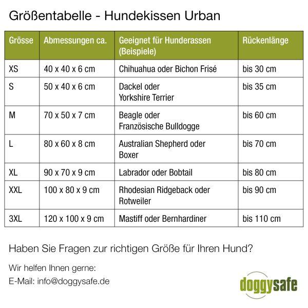 Doctor Bark - Groessentabelle - Hundekissen - Urban