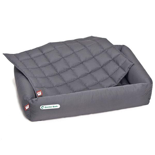 Hundebett-Set - Decke grau- Doctor Bark - Gr. l